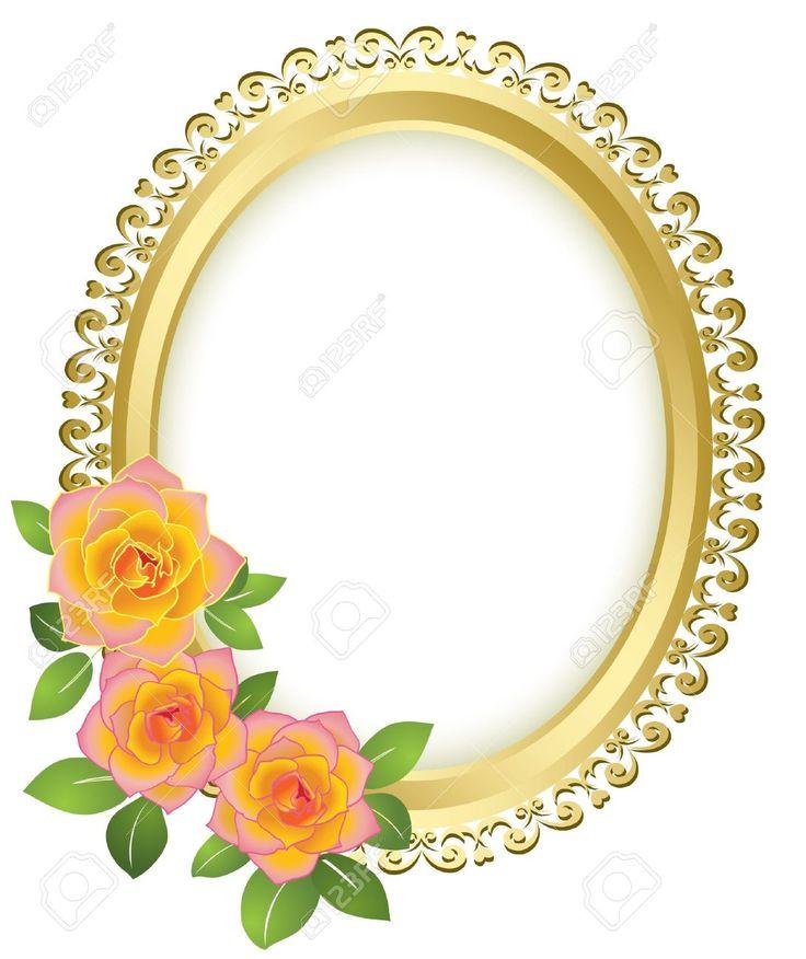 10407546 Golden Oval Frame With Flowers Vector Stock Vector Border Frame Flower