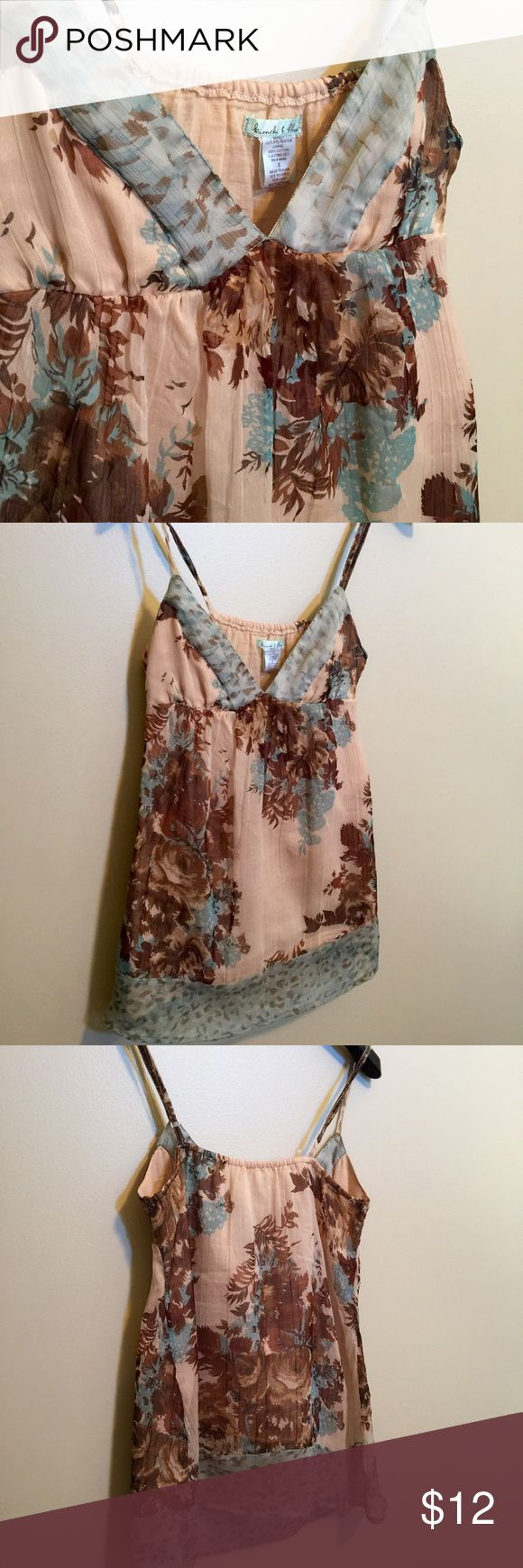 Brown & Blue Floral Tank (very small stain) Brown & Blue Floral Strappy Tank (very small stain included picture of this in last shot) Kimchi Blue Tops Tank Tops