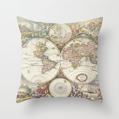 Decorative Pillows Travel Theme : Antique Map Throw pillow, home decor, earth tones, World map ,travel theme, dorm, map, atlas on ...