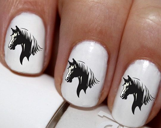 20 pc Horse Head Horse Nail Art Nail Decals by EasyNailTrends - 60 Best Nails Images On Pinterest Horse Nail Art, Horse Nails