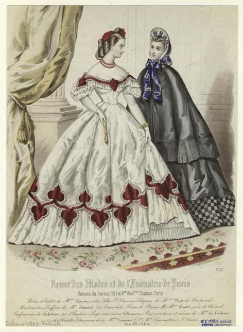 Fashion plate, 1862, Revue des modes et de l'industrie de Paris