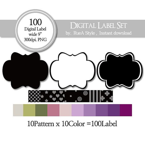SALE 100 Digital Label dot star heart stripe circle by rueastyle