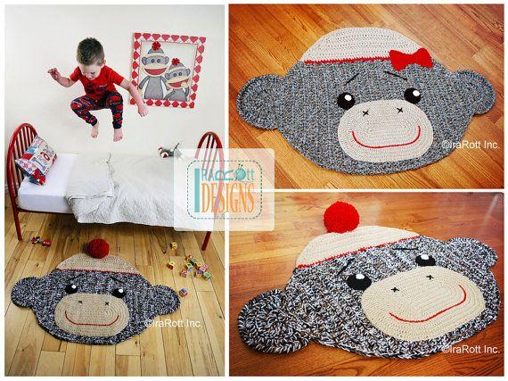 CROCHET PATTERN Spunky the Sock Monkey Rug Mat Nursery Carpet Crochet PDF Pattern Instant Download