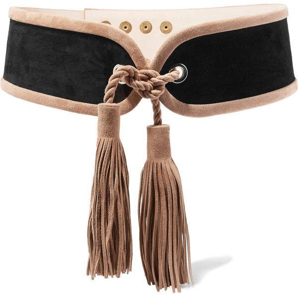 Balmain Tassel-trimmed suede waist belt ($885) ❤ liked on Polyvore featuring accessories, belts, snap belt, embossed belt, balmain belt, adjustable belt and balmain