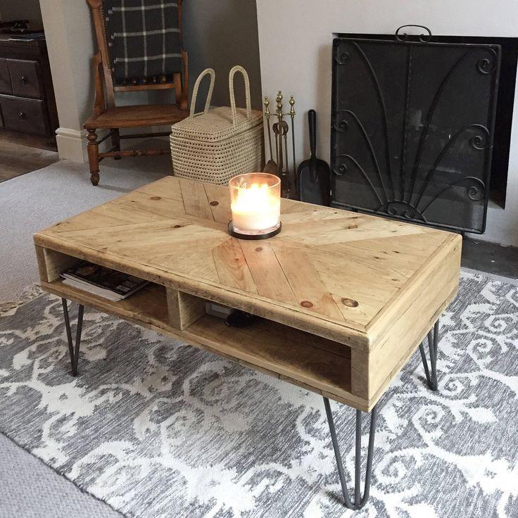 Reclaimed Wood Coffee Table X Pattern Hairpin Legs