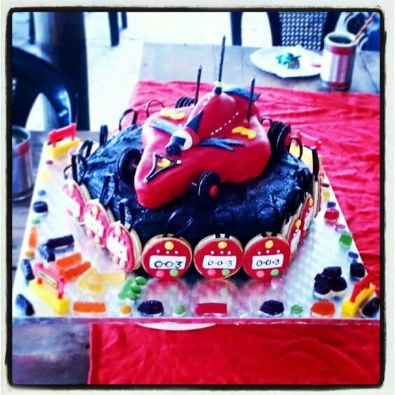 Race car themed Cake; stop watches, Cake made by Cavell Steenkamp