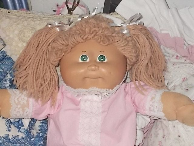 Cabbage Patch Doll Tan Looped Hair, Pigtails, Cabbage Patch Girl Doll, Cabbage Patch Doll, 80s Cabbage patch Doll, xavier roberts Doll by Daysgonebytreasures on Etsy