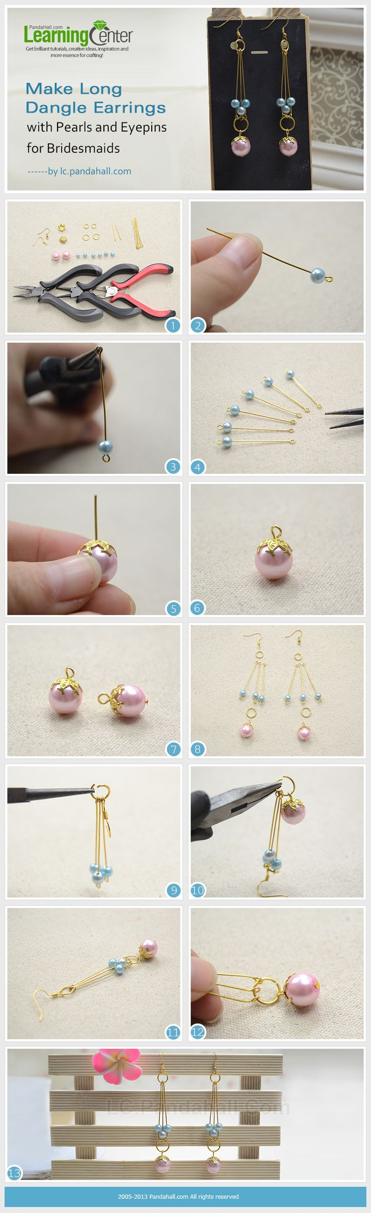By using simply pearl beads, eyepins, headpins and two jumpring, you can make beautiful dangle pearl earrings for bridesmaids at home! Easy and economical!