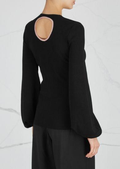 Saher cut-out stretch-knit jumper