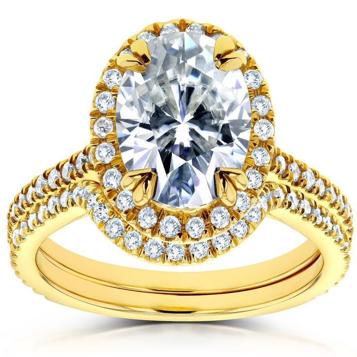 Annello by Kobelli 14k Gold 1 1/2ct Forever Brilliant Oval Moissanite and 1/2ct Diamond Halo 2-piece