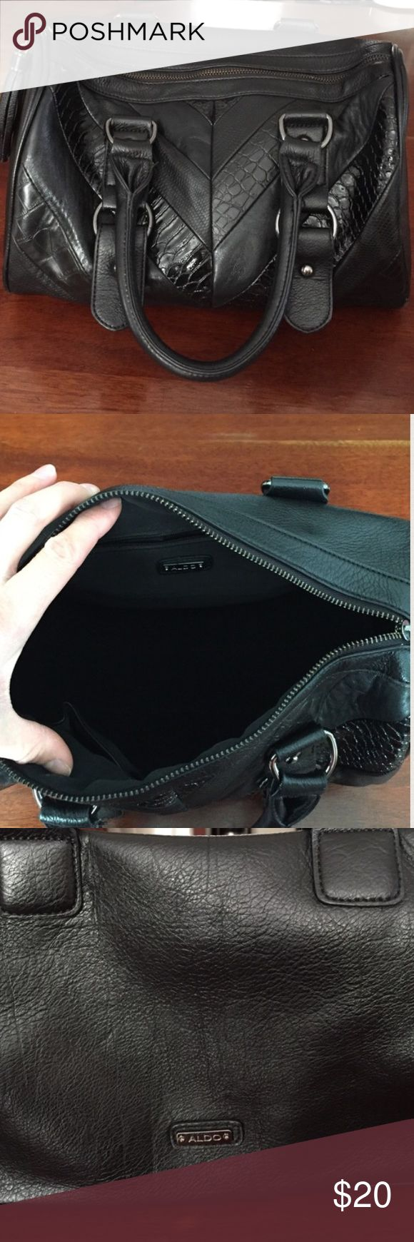 Black ALDO purse Black, Aldo purse very cute and spacious. This purse has been kept in a pet free and smoke free household. There are no signs of wear and tear and zipper functions perfectly. Aldo Bags Totes
