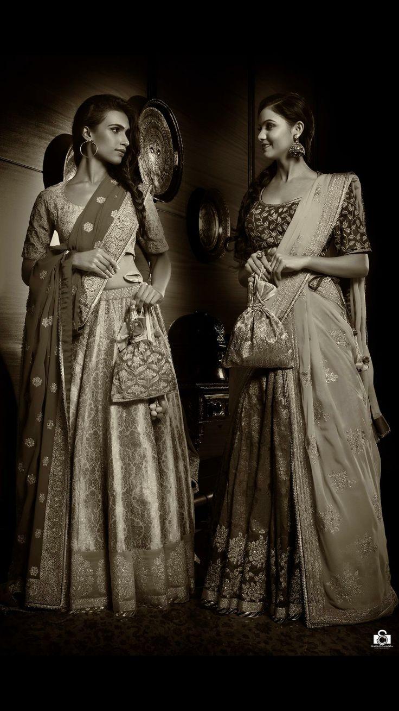 Stunning and elegant bridal benaras lehengas with kota dupattas from Vidhi Singhania. Photo by Sharat Chandra. Model: Pooja Bimrah