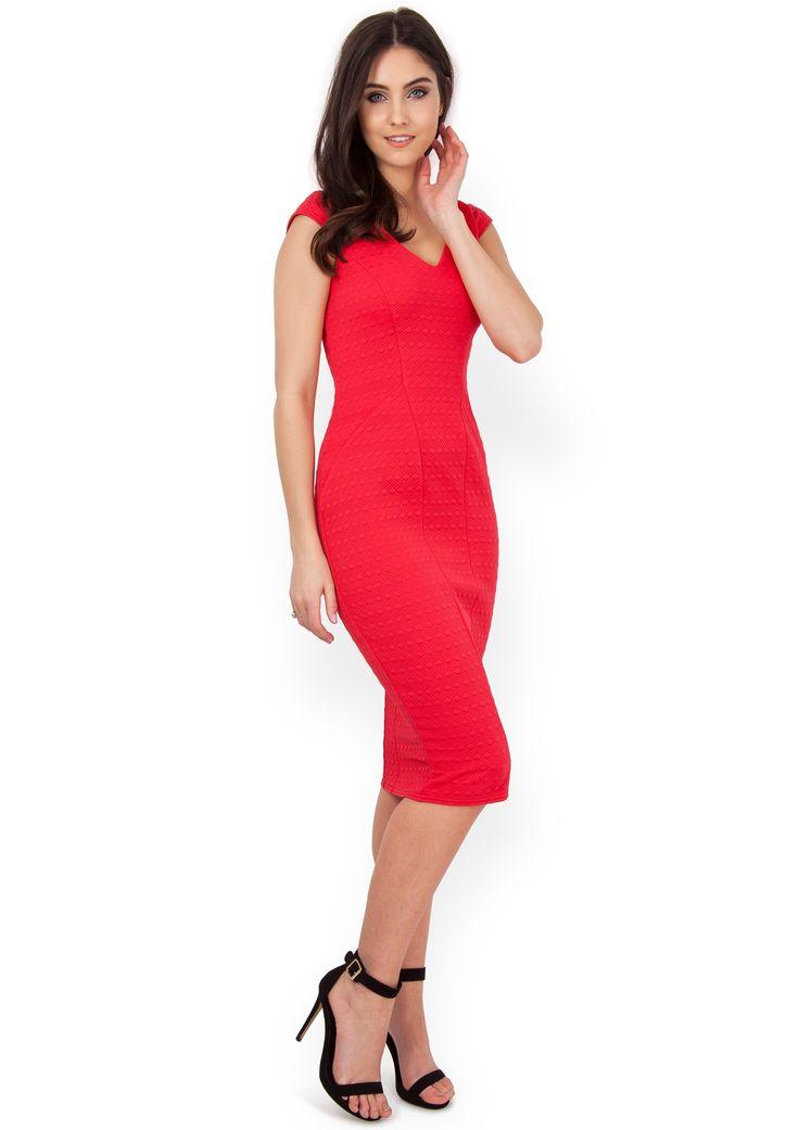 Red Waffle Zip Hem Midi Bodycon Dress