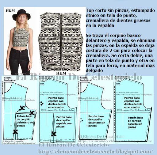 El Rincon De Celestecielo: Eliminando pinzas en los patrones básicos de blusa para tejido de punto