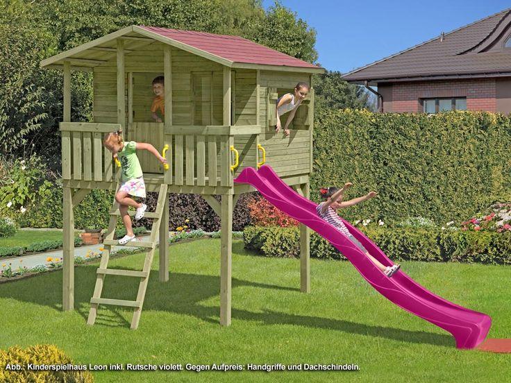 Best PROFI Spielhaus Stelzenhaus SPARSET Leon inkl m Rutsche violett