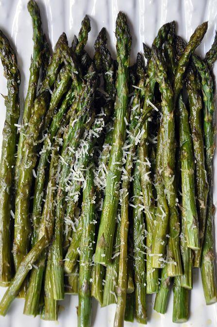 Roasted Asparagus with Parmesan  Prep Time: 5 min Cook Time: 20 min  Ingredients: 2 pounds fresh asparagus, ends trimmed, Olive oil, Kosher salt, freshly cracked black Pepper, ½ cup freshly grated Parmesan cheese.  400ºF.