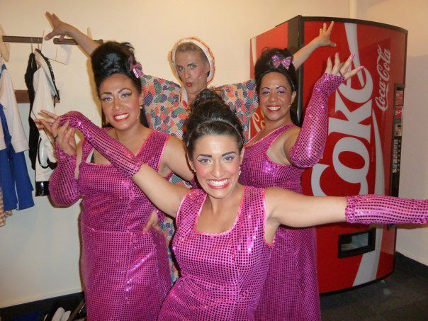 the Dynamites with Edna (Roy Snow) - backstage at Hairspray production...