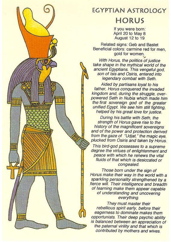 Zodiac Unlimited Egyptian astrology postcard: Horus