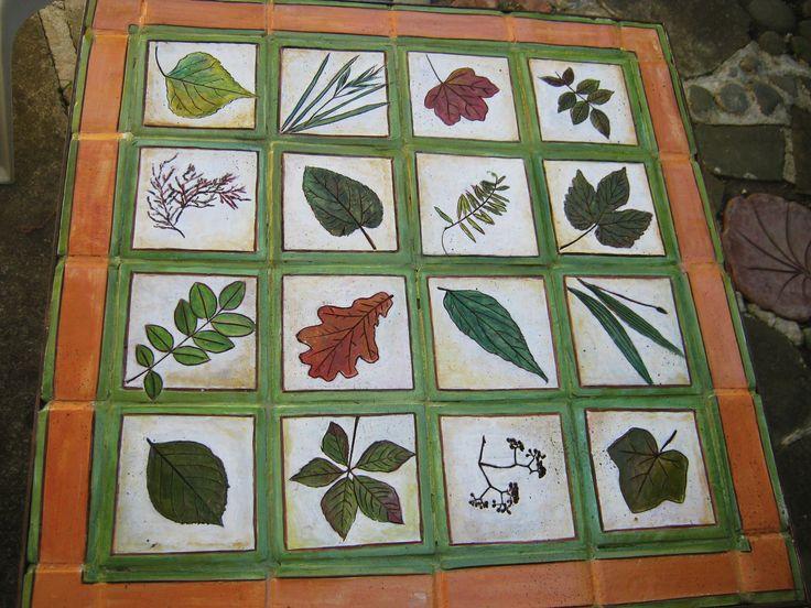 Piano per tavolino decorato con mattonelle di terracotta