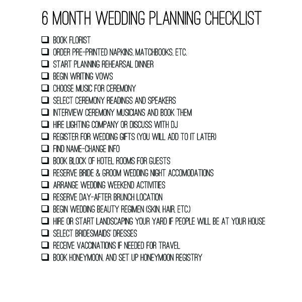 Wedding Preparation: 6 Month Wedding Checklist Planning Timeline