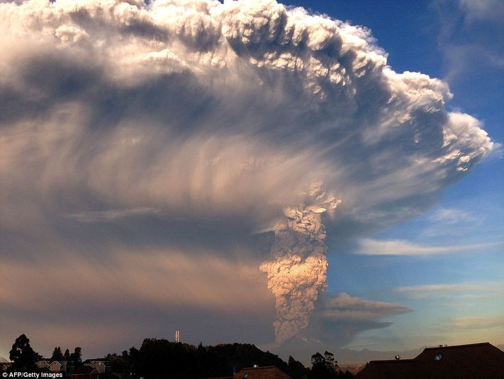 Plume: While most people think of volcanoes as spewing lava, many eruptions take the form of super-heated gas and ash (pictured) which is pushed through the earth's crust, covering the sky