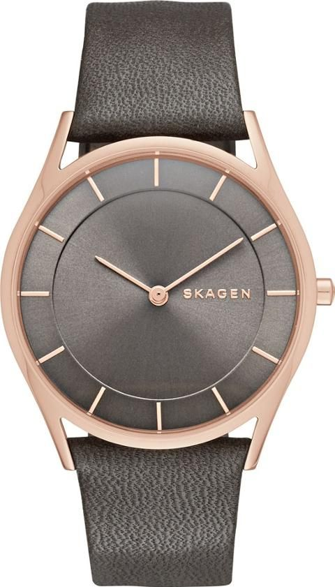 Skagen Ladies Holst Grey Watch. This ladies watch consists of a grey genuine leather strap and stainless steel case. They grey dial contains rose gold features for the hour markers, hands, and SKAGEN logo. #Skagen #Grey #RoseGold #Watches #TheJewelHut #Women #fashion #obsessory #fashion #lifestyle #style