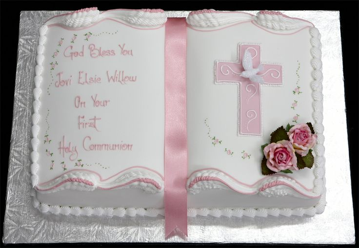 Image detail for -First Holy Communion Cake with Hand Painted Silver Message and ...