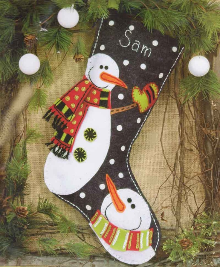 Dimensions Felt Applique Embroidery SNOWMAN #stocking #christmas #decor