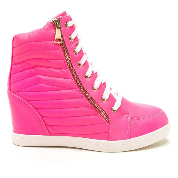Quilt Me Into High-Top Wedge Sneakers NEONPINK ($21) ❤ liked on Polyvore featuring shoes, sneakers, pink, hi tops, wedge trainers, high top shoes, wedge sneakers and pink high top shoes