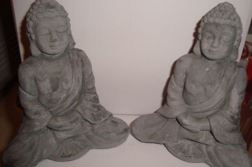 Pair of Sitting Rustic Stone Lucky Thai Buddha Garden Ornaments UK Seller | eBay