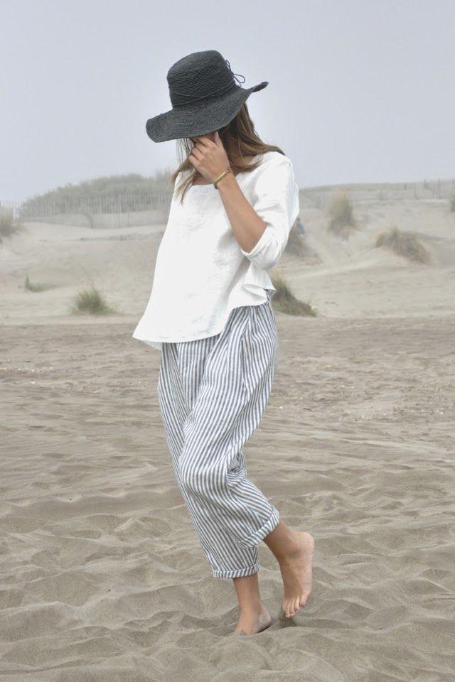 BLOG VDJ   loose striped pants, loose white top, hat    @sommerswim