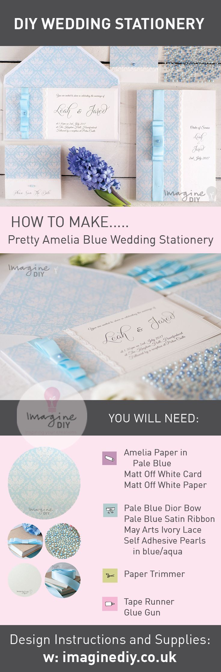 How to make your own wedding stationery. DIY wedding invitations and stationery.  Products and instructions available from Imagine DIY. EASY AND LOW COST.  DIY wedding stationery supplies from Imagine DIY.  Blue wedding idea.    #imaginediy #diywedding #diyweddingideas #diyweddingstationery #bluewedding #diyweddinginvitations #diyweddingidea #diyweddinginvites #diyweddingstationery #diyweddinginvitations #blueweddingideas