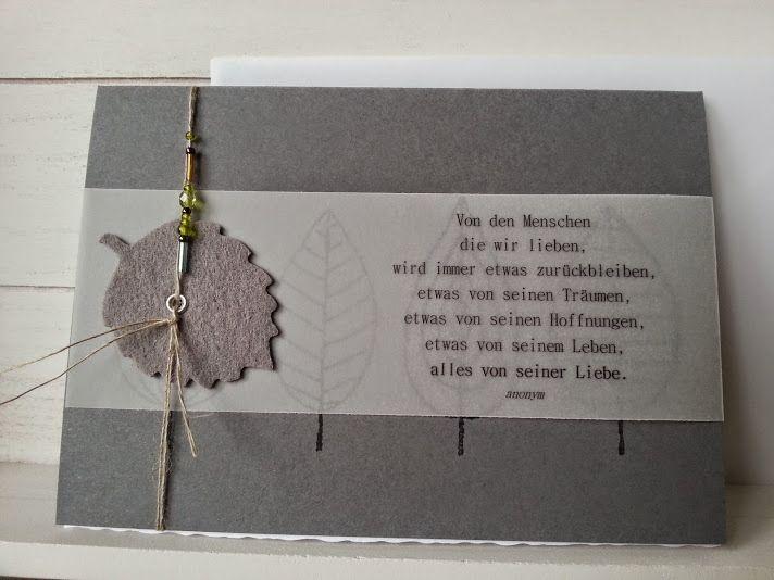 Trauerkarte - Etwas bleibt immer zurück von Ein herzliches Willkommen, schön dass Du bei mir vorbeischaust ... auf DaWanda.com