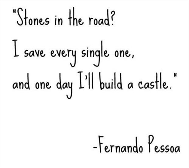 Stones in the road?  I save every single one, and one day I'll build a castle. -Fernando Pessoa