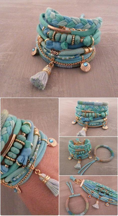 Bohemian Bracelet Turquoise Gypsy Blue Green Boho Bracelet Set, Tassel Bracelet, Aqua Bracelet, TShirt Bracelet Beach Boho Jewelry
