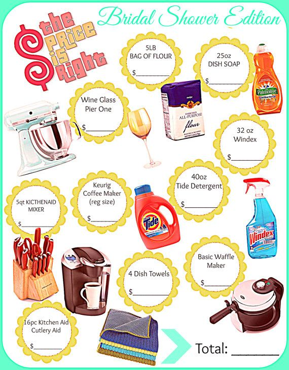 Wedding Shower Game: Price is Right Game by 31Flavorsofdesign