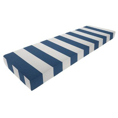 "Three Posts Knife Edge Outdoor Sunbrella Bench Cushion with Zipper Fabric: Cabana Regatta, Size: 4"" H x 45"" W x 15"" D"