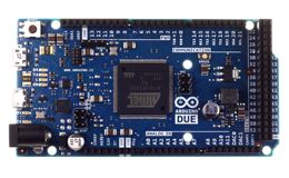 The Arduino Due is a microcontroller board based on the Atmel SAM3X8E ARM Cortex-M3 CPU (datasheet). It is the first Arduino board based on a 32-bit ARM core microcontroller. The Due has 54 digital input/output pins (of which 12 can be used as PWM outputs), 12 analog inputs, 4 UARTs (hardware serial ports), a 84 MHz clock, an USB OTG capable connection, 2 DAC (digital to analog), 2 TWI, a power jack, an SPI header, a JTAG header, a reset button, and an erase button.