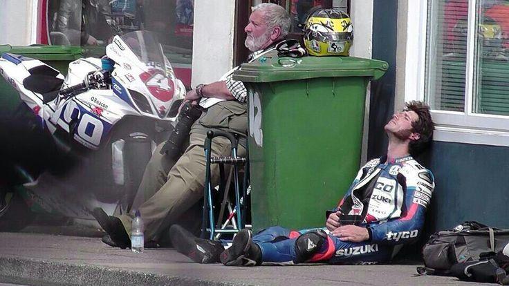 Guy Martin tea time after Senior TT race 2014