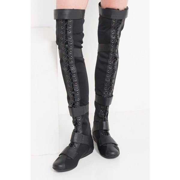 Right Next to Me Thigh High Combat Boots ($60) ❤ liked on Polyvore featuring shoes, boots, over-the-knee boots, army combat boots, over-knee boots, thigh high combat boots, over the knee combat boots and army boots