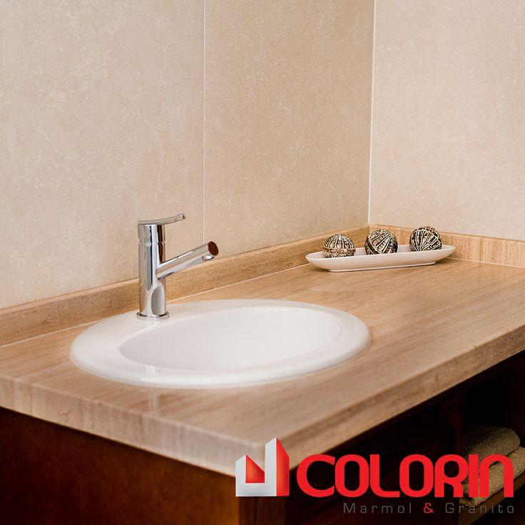Meson de ba o marmol travertino interiores pinterest for Marmol travertino para banos
