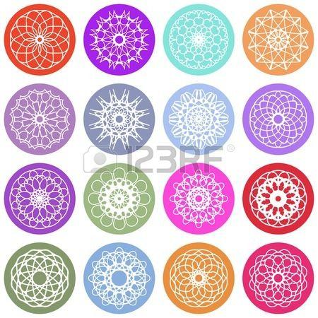 Round color ornament set. Vector spirographs