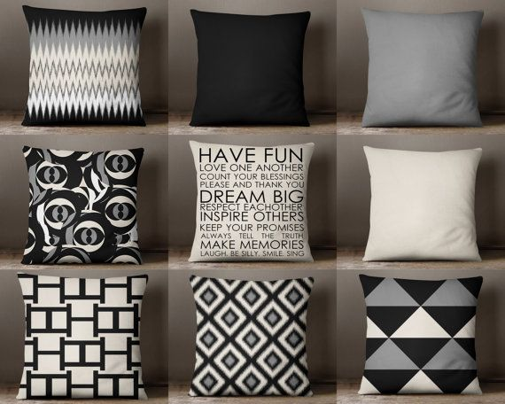 Superior Throw Pillows, Throw Pillow Cover, Pillow Covers, Black Beige Pillows Covers,  Neutral Part 2