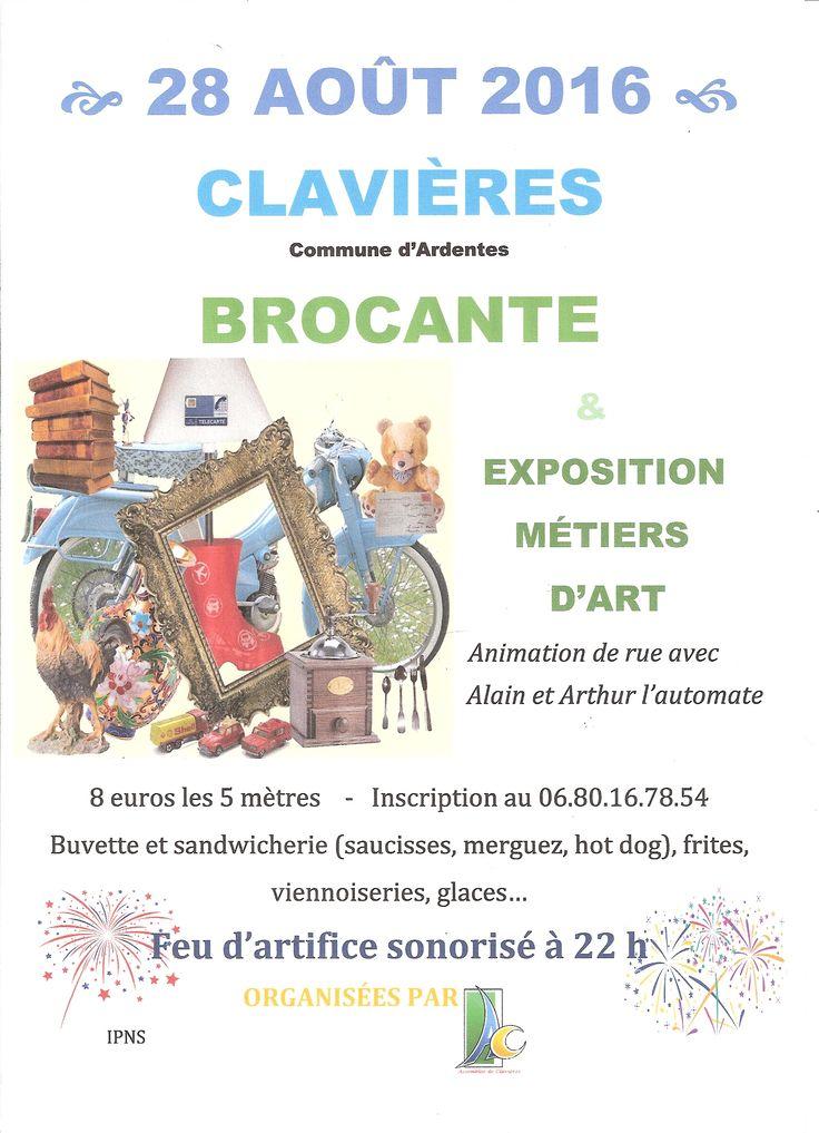 Brocante - Exposition Peinture et métiers d'Art - Feu d'artifice, Ardentes, Clavières, Route du Four à Chaux - Chemin du Lavoir, Dimanche 28 Août 2016, 6h00 > 18h00