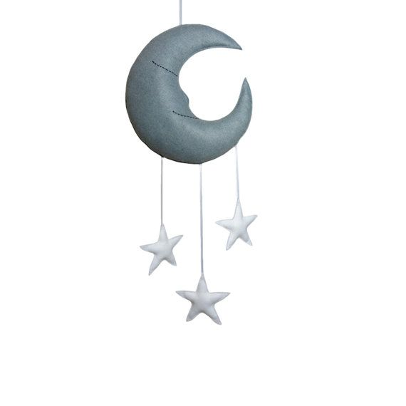 Mr Sleepy Moon and Stars Mobile by Claireoncloud9