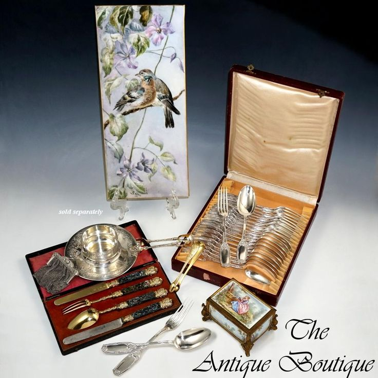 Antique French Sterling Silver 4pc Flatware Traveller's Gift Set, Gilt Vermeil & Grape Motif, Solid Abalone Shell Handles, Boxed