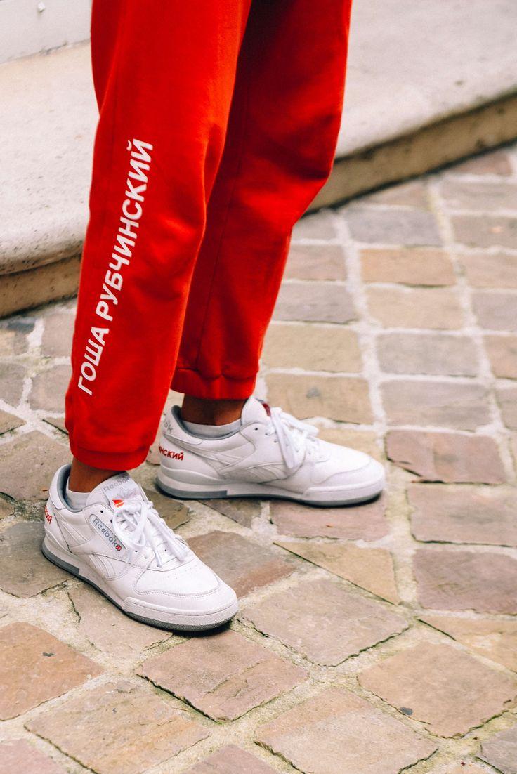 June 25, 2016  Tags Red, White, Paris, Logo, Shoes, Men, Prints, Sneakers, Sweatpants, Gosha Rubchinskiy, Reebok, SS17 Men's