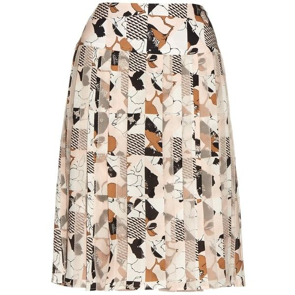 Oscar De La Renta Graphic-print pleated skirt ($1,920) ❤ liked on Polyvore featuring skirts, pink multi, pink skirt, pink chiffon skirt, pastel skirt, knee length pleated skirt and accordion pleated skirt