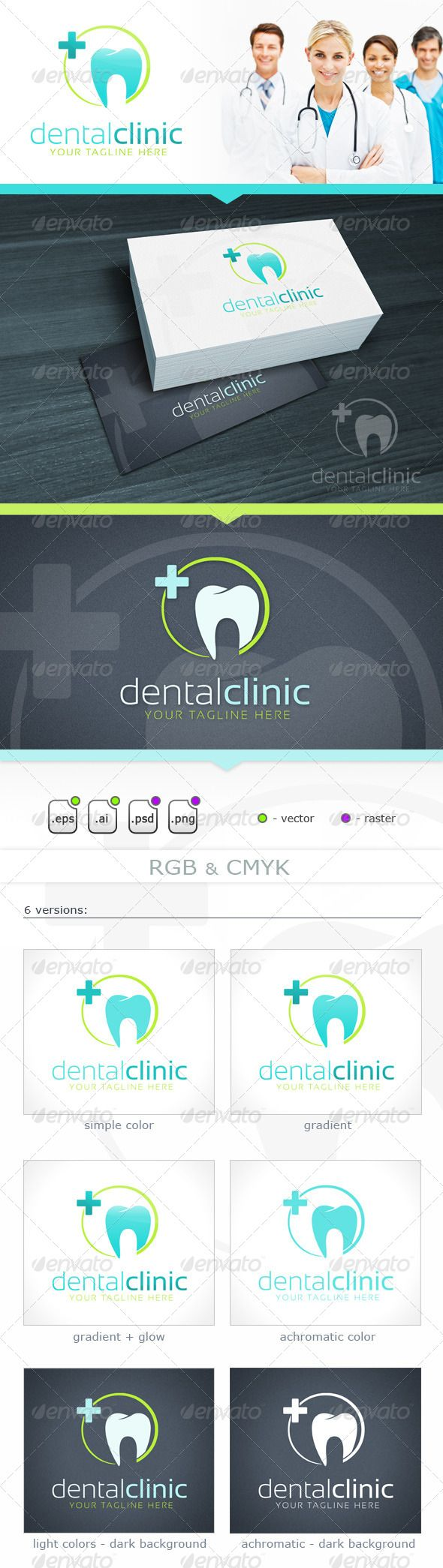 Dental Clinic  #GraphicRiver         Dental Clinic is a blue and green teeth logo, suited for dental service business or a dentistry.  	 - vector files: EPS, AI (resizable) - raster files: PNG, PSD (editable text) - RGB and CMYK (PSD) - 6 color version  	 Free Font Used: Sansation ( .dafont /sansation.font)     Created: 5November13 GraphicsFilesIncluded: PhotoshopPSD #