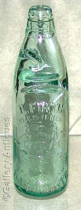 Rare antique Victorian H Firth Harrogate ship mark Aqua colour Glass mineral Codd water Bottle with Marble c.1890's (ref: 71312-71)